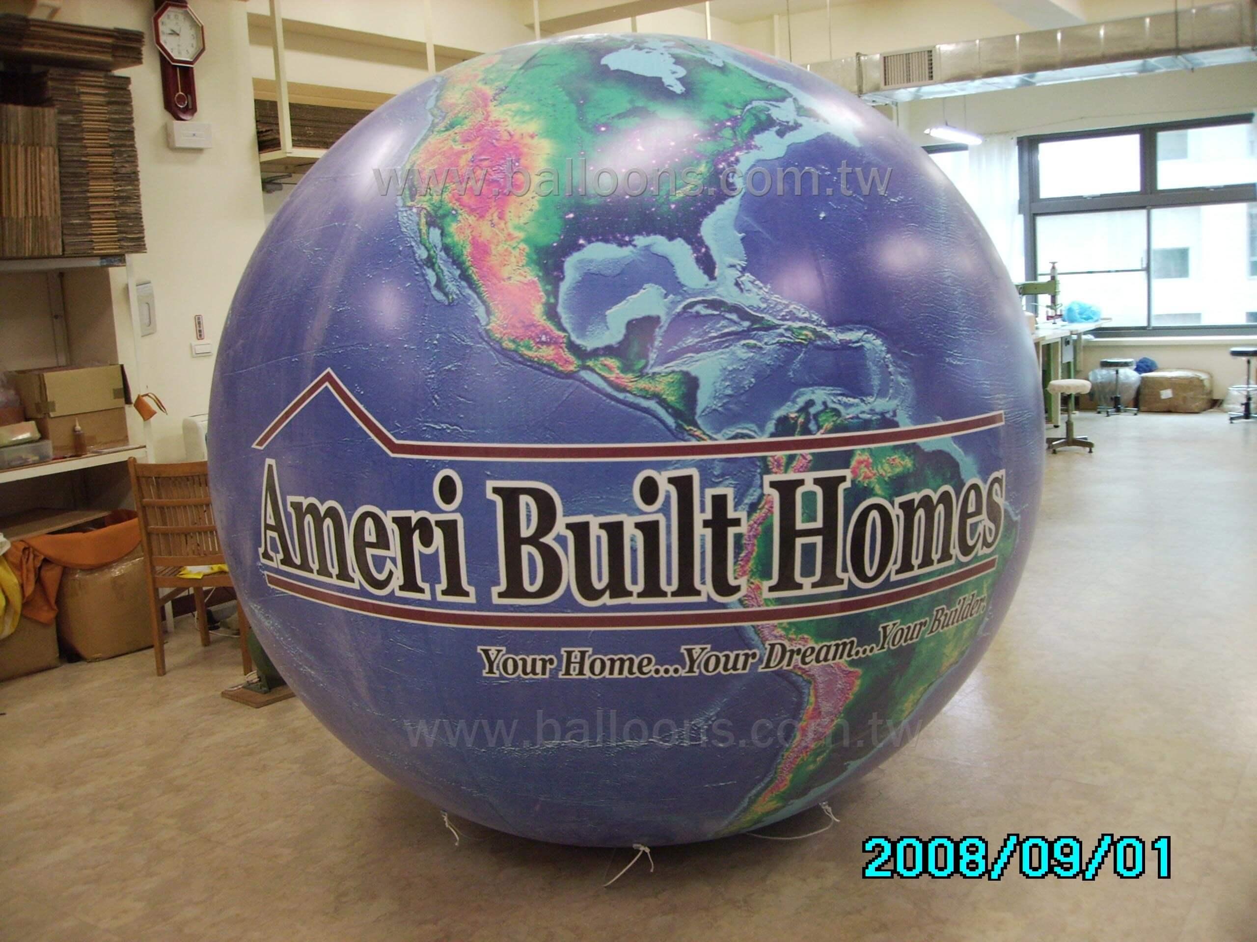 Inflatable printed globe balloon全彩電噴地球圖案廣告氣球