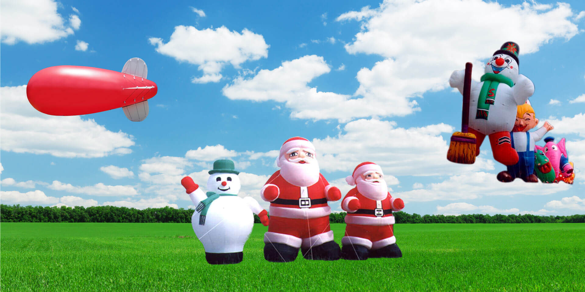 Helium blimp and standing snowman and Santa Claus balloon空飄氣球與立地氣球