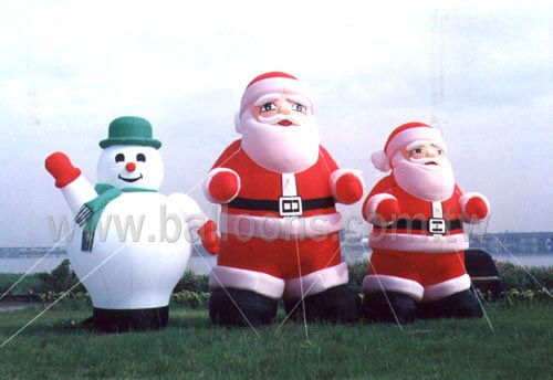 Inflatable standing snow man and Santa Claus balloons站立式雪人與聖誕老公公造型氣球
